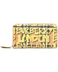 Burberry - Graffiti Check Wallet - Lyst