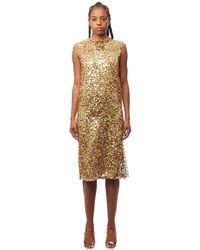 Prada - Sequined Organza Midi Dress - Lyst