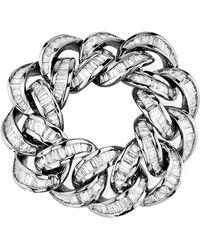 SHAY - Baguette Diamond White Gold Link Ring - Lyst