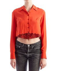 Olivier Theyskens - Red Blouse With Black Lace - Lyst