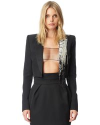 f9ddd982ce0 Lyst - Chanel Textured Beaded Edging Detail Cropped Boucle Jacket L ...