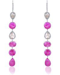 Nina Runsdorf - Ruby And Rough Diamond Dangling Earrings - Lyst