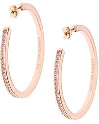 Karen Millen - Large Hoop Earrings - Rose Gold Colour - Lyst