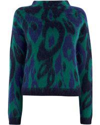 Karen Millen - Brushed Wool Leopard Jumper - Lyst