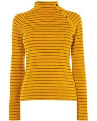 Karen Millen - Striped High-neck Top - Lyst