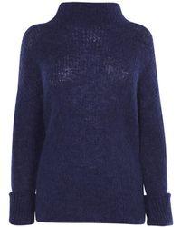 23e0d883af Karen Millen Zip-detail Turtleneck Sweater in Gray - Lyst