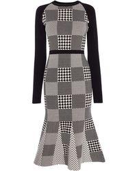 Karen Millen - Mini-check Midi Dress - Lyst