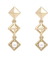 Karen Millen - Pyramid Pearl Earrings - Lyst