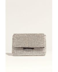 Karen Millen | Diamonte Foldover Clutch Bag - Silver | Lyst