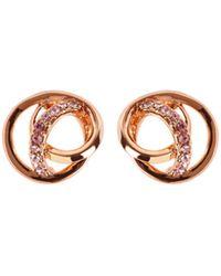 Karen Millen - Crystal Ribbon Stud - Rose Gold Colour - Lyst
