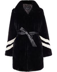 Karen Millen - Striped Faux-fur Coat - Lyst