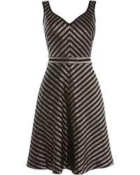 Karen Millen - Metallic Stripe Skater Dress - Lyst