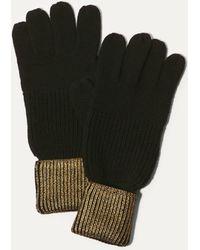 Karen Millen - Metallic Knitted Gloves - Black - Lyst