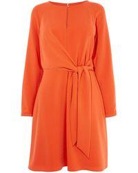 Karen Millen - Knotted Waist Mini Dress - Lyst