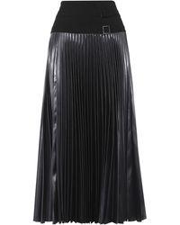 Karen Millen - Pleated Satin Midi Skirt - Dark Charcoal - Lyst