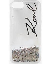 Karl Lagerfeld - Liquid Sparkles Signature Iphone 8 Case - Lyst