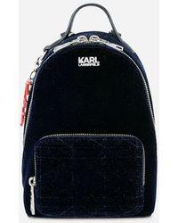 """Karl Lagerfeld - """"karl X Kaia Mini"""" Blue Glittered Backpack - Lyst"""