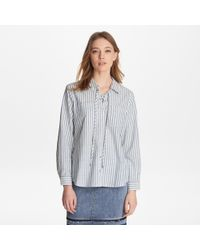 65cf364e5b45f3 Karl Lagerfeld Striped Blouse With Ruffle Front - Save 53% - Lyst