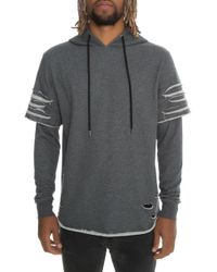 FBRK - The Ripped Pullover Hoodie In Dark Gray - Lyst