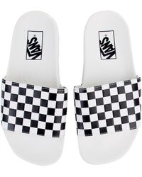 Vans - The Women s Checkerboard Slide-on In White And Black - Lyst 562ca279b