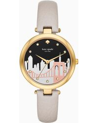 Kate Spade - Varick Cityscape Grey Leather Watch - Lyst