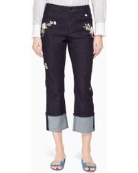 Kate Spade - Embroidered Cuff Jean - Lyst