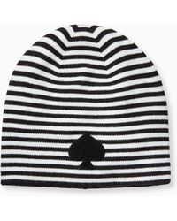 c9d761b60d1 Lyst - Kate Spade New York Merino Wool Striped Beanie With Bow in Black