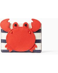 Kate Spade - Shore Thing Crab Applique Card Holder - Lyst