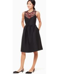 Kate Spade - Embroidered Mikado Dress - Lyst