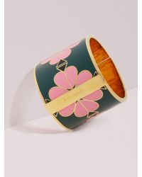 Kate Spade - Heritage Spade Wide Floral Enamel Bangle - Lyst