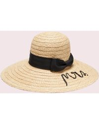 4a8656619f4ed Lyst - Kate Spade Split Back Floppy With Self Bow Hat in Black