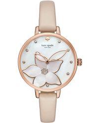Kate Spade - Metro Flower Vachetta Leather Watch - Lyst