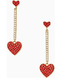 Kate Spade - Yours Truly Pave Heart Linear Earrings - Lyst