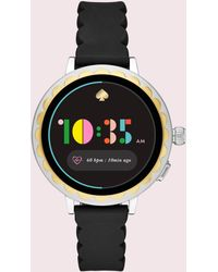 Kate Spade - Scallop Touchscreen Black Silicone Smartwatch - Lyst