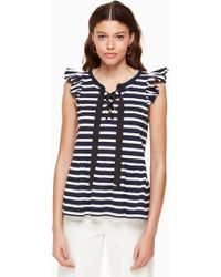 Kate Spade - Lace-up Stripe Knit Tee - Lyst