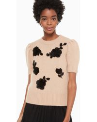 Kate Spade - Floral Applique Sweater - Lyst