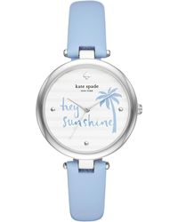 Kate Spade - Varick Light Blue Leather Watch - Lyst