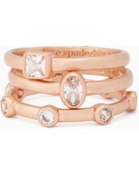 Kate Spade - Elegant Edge Stackable Ring Set - Lyst