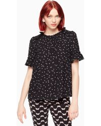 9d7651727d07f Lyst - Madewell Silk Wrap Top In Star Scatter in Black
