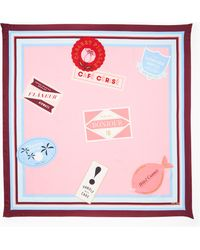Kate Spade - Travel Stickers Square Scarf - Lyst