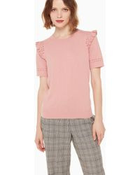 Kate Spade - Ruffled Eyelet-detail Wool Top - Lyst