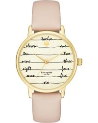 Kate Spade - Metro Chalkboard Vachetta Leather Watch - Lyst