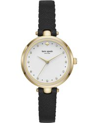 Kate Spade - Holland Scallop Black Leather Watch - Lyst