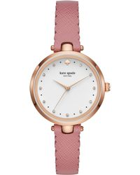 Kate Spade - Holland Scallop Pink Leather Watch - Lyst
