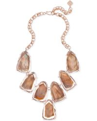 Kendra Scott - Harlow Rose Gold Statement Necklace In Suspended Brown Mother Of Pearl - Lyst