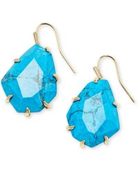 Kendra Scott - Rosenell Gold Drop Earrings In Aqua Howlite - Lyst