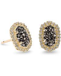 Kendra Scott - Cade Gold Stud Earrings In Platinum Drusy - Lyst