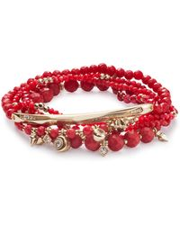 Kendra Scott - Supak Gold Beaded Bracelet Set In Red Mother Of Pearl Mix - Lyst