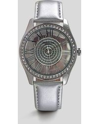 Kenneth Cole - Silver Leather Round Stone Watch - Lyst