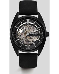 Kenneth Cole - Automatic Silver-tone Black Genuine Leather Watch - Lyst